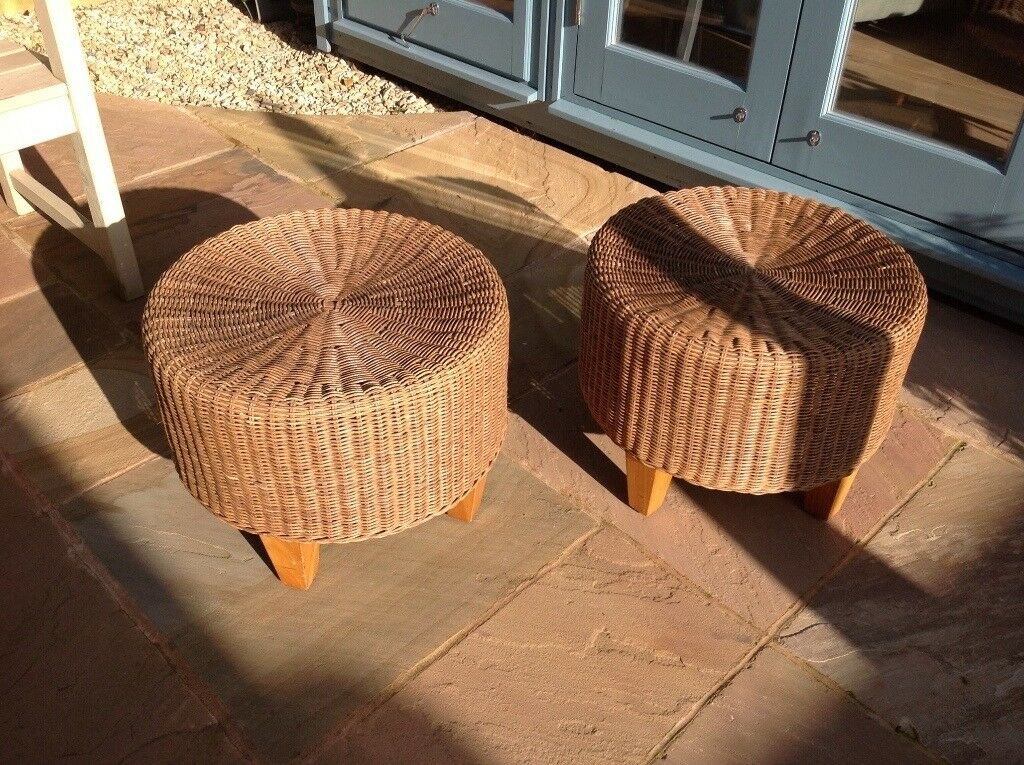Pair Of Round Wicker Stools Ikea