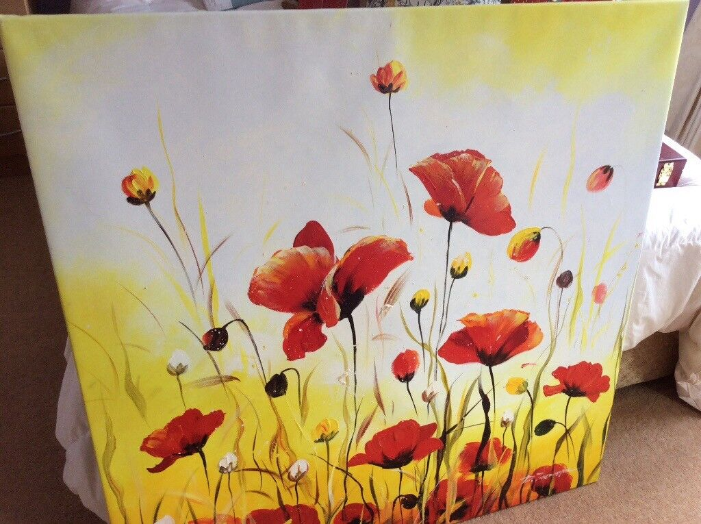 Large vibrant oil on canvas picture