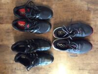 3 pairs of Adidas golf shoes 2 are size 7 UK and 1 is size 7.5 UK