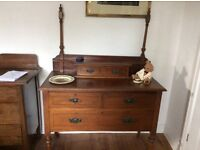 Circa Edwardian Mahogany Dressing Table with Mirror. In good condition.