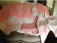 Pink floral double bed sheets/pillowcases set.