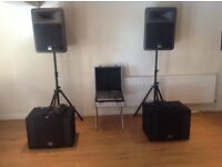 peavey speakers 15s 800w max side peavey bass cabs 600w max side studio master 1000w powered desk
