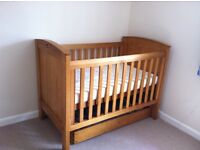 Boori nursery furniture set:- cot bed, under bed storage, changing station and a wardrobe