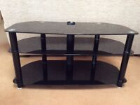3 shelf black glass TV stand up to 50in TV
