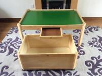 Wooden toy table with under table storage box