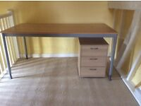 Desk/table and under desk drawer unit, IKEA, pale wood, immaculate condition