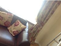Curtains heavy lined excellent quality from debenhams plus two matching cushions 66 wide x 90 drop