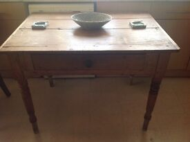 Old antique pine farmhouse table with turned legs & drawer