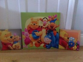 Winnie the Pooh pictures. 3 canvas pictures sold as a set.