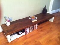 Thick top SHABBY CHIC RECLAIMED Rustic TV stand/Cabinet solid wood~SIDE DISPLAY TABLE DOOR