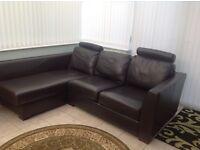 Brown leather Italian corner sofa