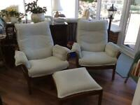 Pair of Ercol chairs with stool
