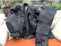 Frank Thomas leather motor cycle jacket & trousers.