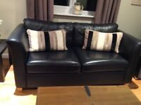 3 + 2 seater black leather sofas