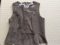 Grey Leather/Suede Top Size 14