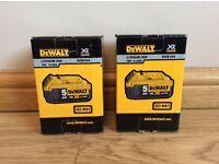 Brand New 2x DeWalt DCB184 18v 5 ah XR Li-Ion Batteries