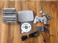 Sony Playstation 1 PS1 Slim Console 9 Games, Johnny Bazookatone, Tomb Raider, GTA, Abes Oddysee