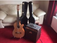 Dean Concert Classical Guitar and Peavey Amp