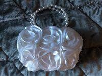 Stunning little Satin & Pearl Communion Bag