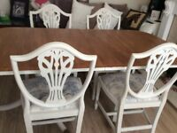 Double pedestal dining table & four chairs