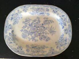 "VERY LARGE VINTAGE SERVING PLATE IN Asiatic Pheasant design VGC. Size. 17.5"" x 13.5"""
