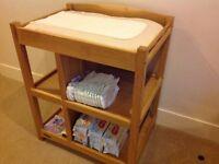 Solid oak children's nursery furniture - cot bed, wardrobe, drawers & changing unit