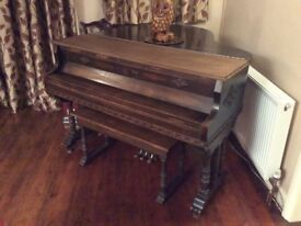 Original 1920's Wurlitzer Baby Grand Piano - Steel framed complete with matching twin seat stool