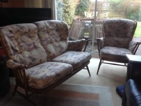 Ercol Cottage 2 seater sofa and matching chair