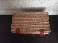 Wicker Picnic Basket with four place settings - unused item