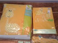 Mothercare Nursery Cot/Cot Bed Quilt, Duvet Cover, light shade & Storage Bags, curtains etc -All New