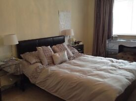 Dark brown faux leather double bedframe and mattress