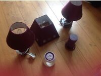 Aubergine bedside table lamps, lampshade,Yankee candle bundle