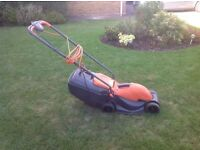 FLYMO ELECTRIC VENTURER 32 LAWNMOWER WITH ROLLER. £12