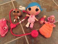 Lalaloopsy Doll and accessories. Also mini Lalaloopsy with bed and accessories - As New