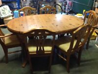 Ducal Pine Table extendable table and 6 Chairs