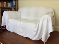 2x two seater sofas (white IKEA throws included)