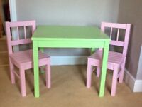 CHILDRENS TABLE AND CHAIRS 2 CHAIRS PAINTED