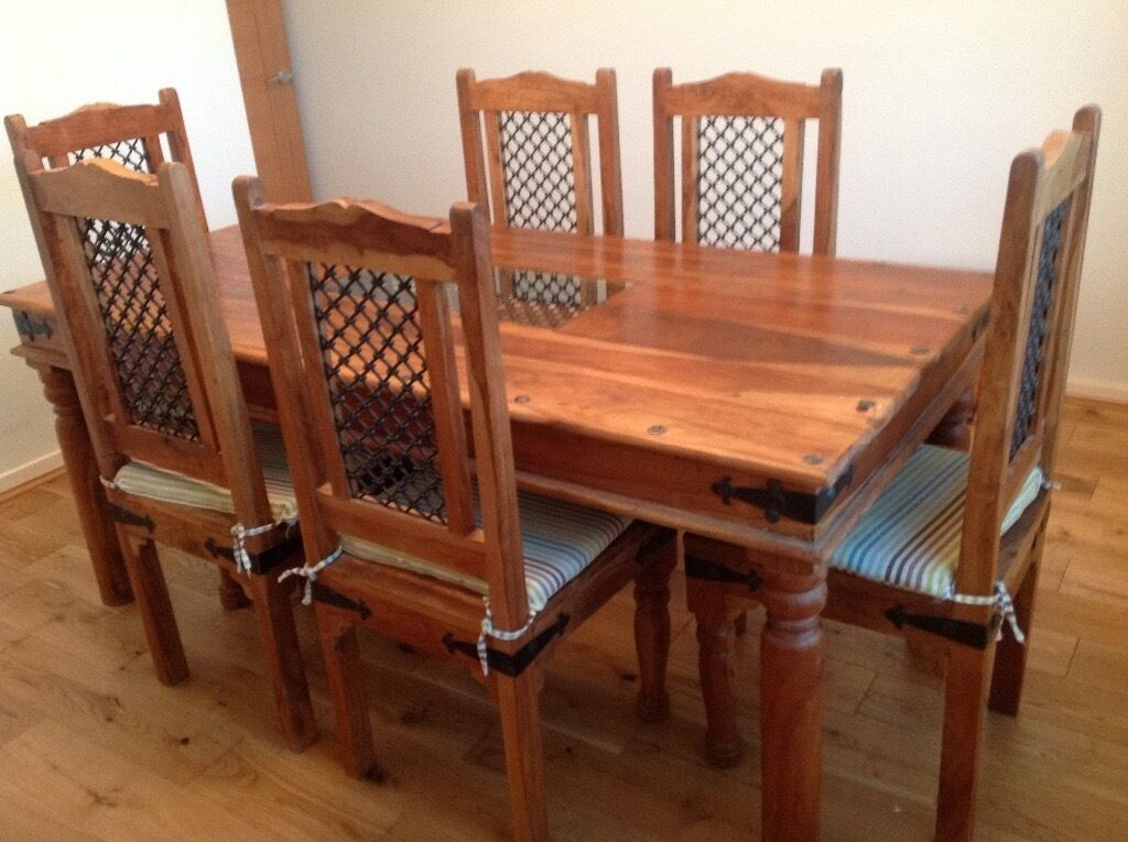 New price jail sheesham wood dining room table 6 chairs for Dining room table only