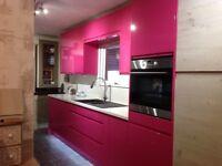 Pink Hand Sprayed Kitchen .