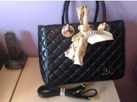 Chanel style black quilted handbag new