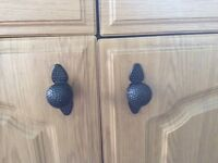Kitchen cabinet door knobs and handles 7 knobs and 6 handles Black metal quite heavy