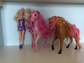 Barbie 's and horse/ unicorn
