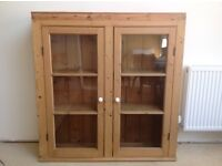 Vintage. 1930s .Stripped Pine. Kitchen Display Cabinet. Glass Doors.