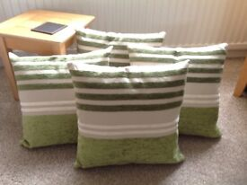 Green patterned cushions
