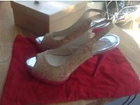 louboutin shoes size 5 cork uppers pink 1'platform heels 5.5' Vgc