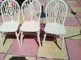 3 wooden chairs not in bad condition require a little attention
