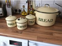 Tea coffee sugar,cannisters, with bread bin