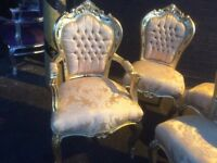 Gold French style chair with arms