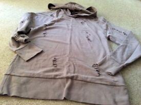 TopShop dusky pink distressed hoodie size 8