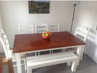 Dining table, LARGE, solid wood, 6 chairs & bench
